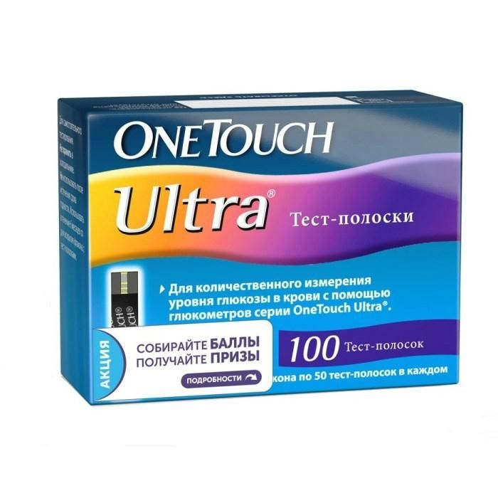 Тест-полоски ultra One Touch, 100 шт