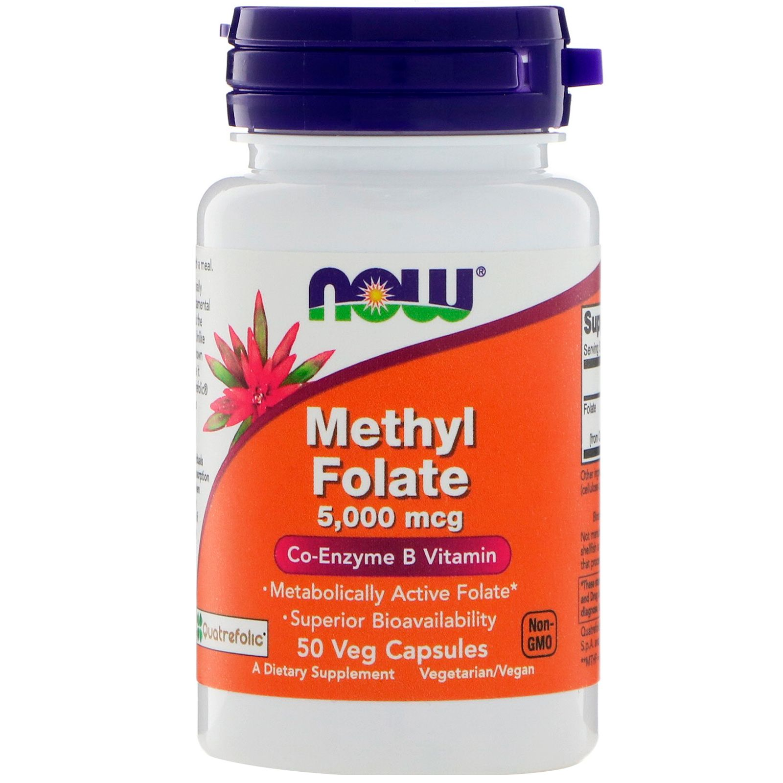 Methyl Folate, Метил Фолат, Витамин B Коэнзим Now Foods 5000 мкг, 50 капсул